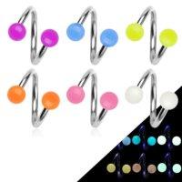 Spirale Piercing - Stahl - Silber - Glow in the dark