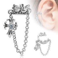 Ear Cuff - Silber - Krone - Kette - Kreuz