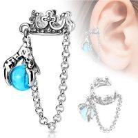 Ear Cuff - Silber - Krone - Kette - Perle - Blau