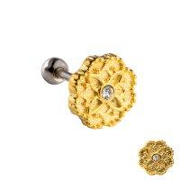 Piercing Stab - Silber - Kurz - Blume - Gold