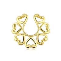 Fake Brustpiercing - Stahl - Ring - Gold - Herzen