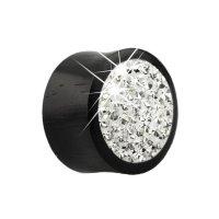 Holz Plug - Schwarz - Kristalle - Klar