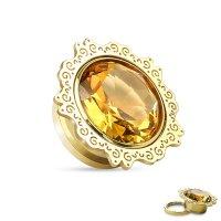 Ohr Plug - Gold - Ornament - Kristall - Bernstein