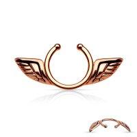 Fake Brustpiercing - Stahl - Rosegold - Flügel