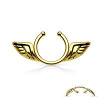 Fake Brustpiercing - Stahl - Gold - Flügel