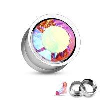 Kristall Plug - Double Flare - GEWINDE - Pink-Crystal