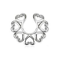 Fake Brustpiercing - Stahl - Ring - Silber - Herzen
