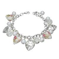 Armband - Silber - Herzen - Schloss - Perlen