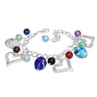Armband - Silber - Herzen - Perlen - Bunt