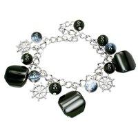 Armband - Silber - Perlen - Schwarz - Steuerrad