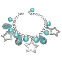 Armband - Silber - Stern - Perlen - Blau