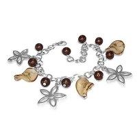 Armband - Silber - Blumen - Perlen - Braun