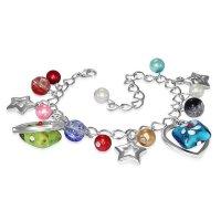 Armband - Silber - Herzen - Sterne - Perlen - Bunt
