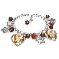 Armband - Silber - Herzen - Sterne - Perlen - Braun