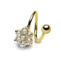 Spirale Piercing - Gold - Kristall - Blume