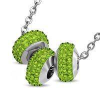 Kette - Silber - 3 Kristall-Kugeln - Grün