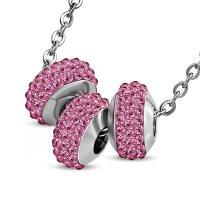 Kette - Silber - 3 Kristall-Kugeln - Pink