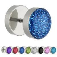 Piercing Fake Plug - Silber - Kristall - Glitter