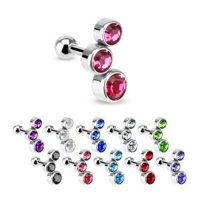 Piercing Stab mit Kugel - Kurz - Bubbles - Kristalle