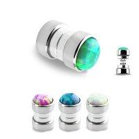 Magnet Fake Plug - Silber - Opalith