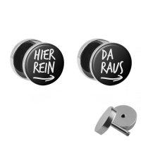 Hier Rein / Da Raus - Fake Plugs im Set | Lustige Spruch...
