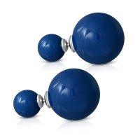 Edelstahl Ohrstecker - Perle - Doppel-Kugel - Blau
