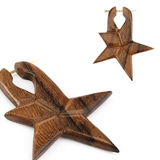 Holz Ohrringe - Braun - Stern - Geschlossen