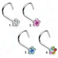 Nasenpiercing gebogen - Silber - Kristall - Blume