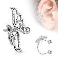 Ear Cuff - Silber - Flügel - Kristalle
