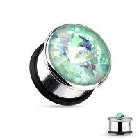 Kristall Plug - Stahlfassung - Spitz - Aqua Crystal -...