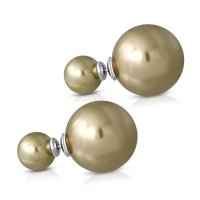 Edelstahl Ohrstecker - Perle - Doppel-Kugel - Gold -...