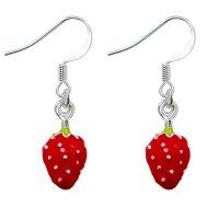 Ohrringe - Hänger - Silber - Erdbeeren
