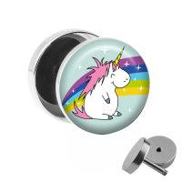 Motiv Fake Plug - Dickes Einhorn mit Regenbogen