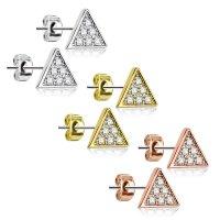 Edelstahl Ohrstecker - Dreiecke - Kristalle - Klar