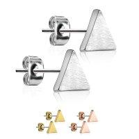 Edelstahl Ohrstecker - Dreiecke - Matt