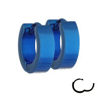 Edelstahl Creolen Ohrringe - Blau - 4mm