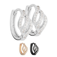 Creolen Ohrringe - 925 Silber - Geschwungen - Kristalle
