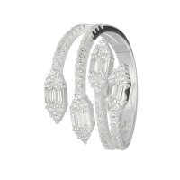 Ring - 925 Silber - Mehrreihig - Kristalle - Spitzen
