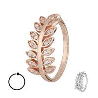 Ring - 925 Silber - Blätter - Kristalle