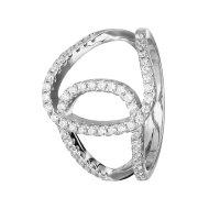 Ring - 925 Silber - Kristalle - Schlaufen