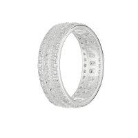 Ring - 925 Silber - 3 Reihen Kristalle - Silber