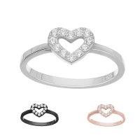 Ring - 925 Silber - Herz - Kristalle