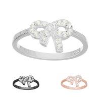 Ring - 925 Silber - Schleife - Kristalle