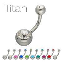 Piercing Banane - Titan - Silber - 2 Kristalle