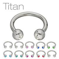 Piercing Hufeisen - Titan - Silber - Kristalle