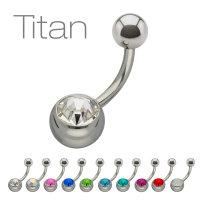 Piercing Banane - Titan - Silber - Kristall