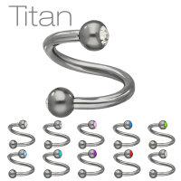 Piercing Spirale - Titan - Silber - Kristalle