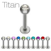 Piercing Labret - Titan - Silber - Kristall