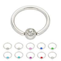 Piercing Klemmring - Stahl - Silber - Kristall