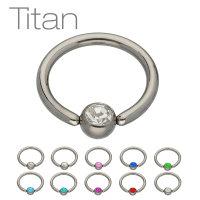 Piercing Klemmring - Titan - Silber - Kristall